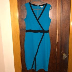 Blue and black knee length dress